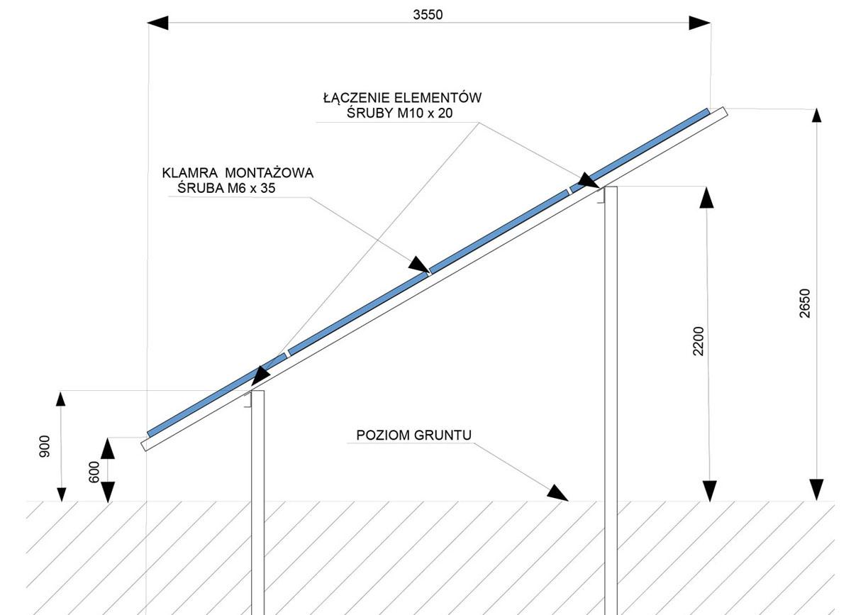 Konstrukcja dwupodporowa na cztery panele uklad poziomy