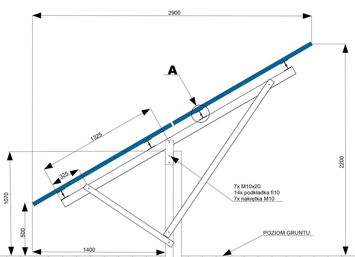 Konstrukcja jednopodporowa na dwa panele w ukladzie pionowym